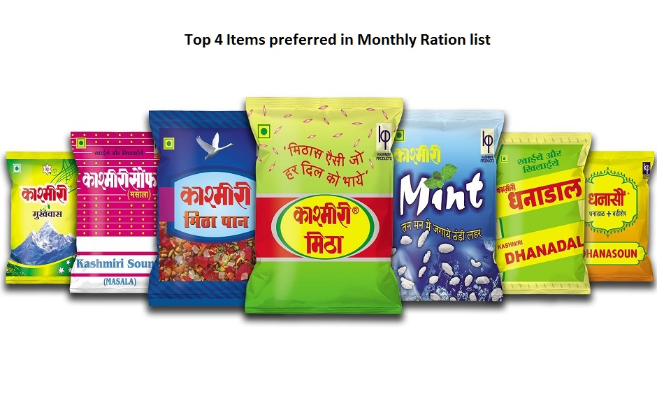 Top 4 foods items must in your Monthly Ration List, Kashmiri Products, Kashmiri Mitha, Kashmiri Dhanadal, Kashmiri Sounff, Kashmiri Dhanasounff, Kashmiri Mukhwas;